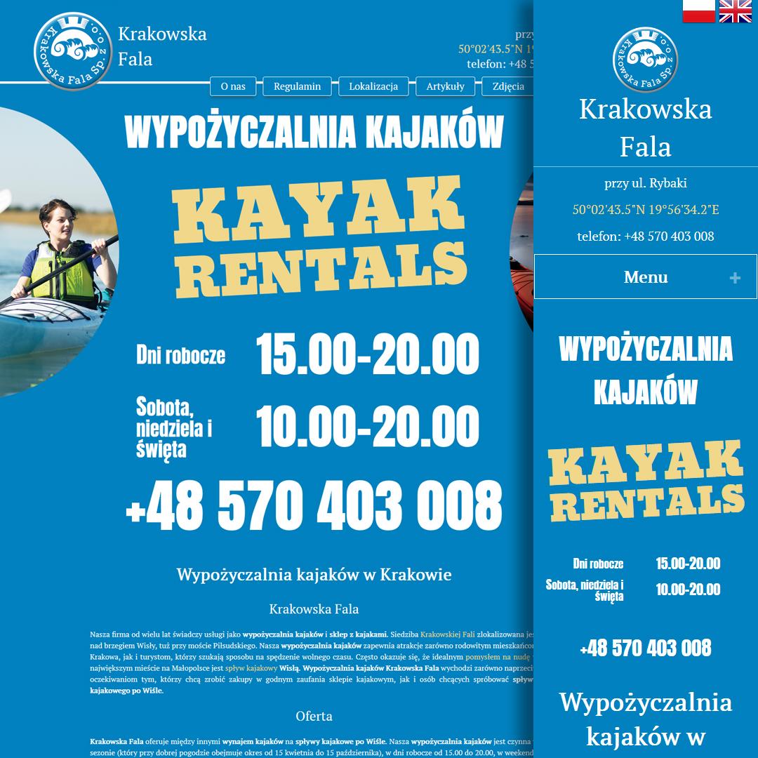 kajakrent.pl - главная страница